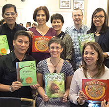 Rachel Shaw with Rotary members at the launch of her book in Manila.