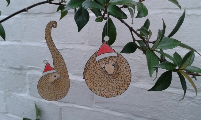 Pangolin Christmas baubles