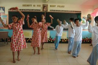 School children dancing