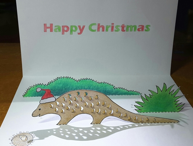 Pop-up pangolin Christmas card