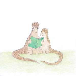 Reading with an Indian pangolin