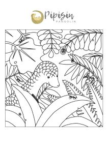 Pipisin in the forest colouring page