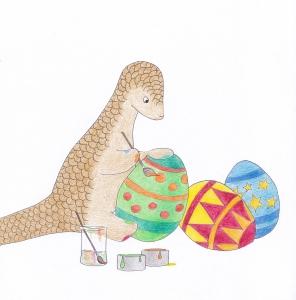 Pipisin painting easter eggs